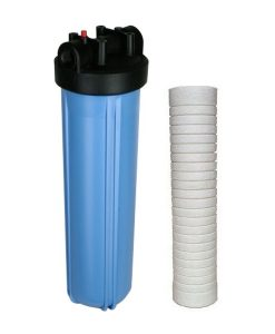 Jumbo big blue whole house sediment water filter system with 20 inch 5 micron sediment filter