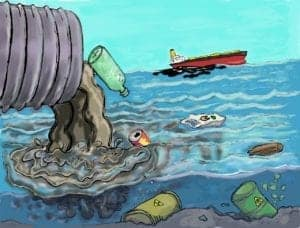 Cartoon of water contamination, contaminants in water