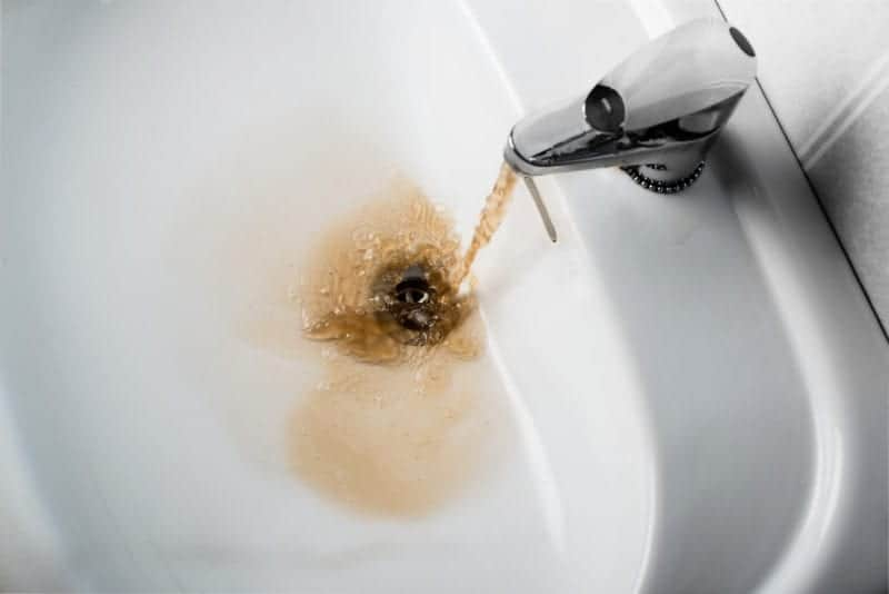 Dirty brown water with tannins running into a white sink