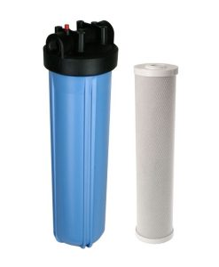 "Whole house filter system with 20"" jumbo blue filter housing and 20 inch carbon block cartridge"