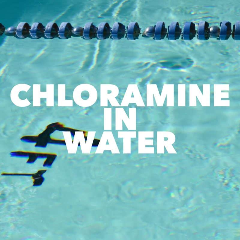 Swimming pool with white text overlay chloramine in water